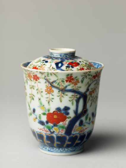 Lidded cup with trees and flowers