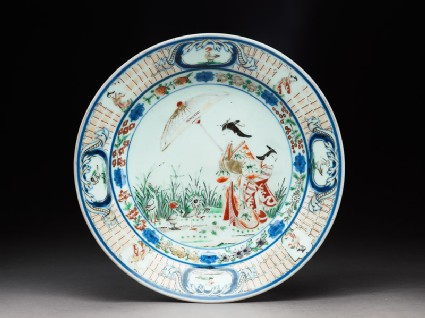 Plate with a courtesan and apprentice