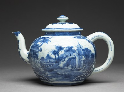 Teapot with scenes derived from Olfert Dapper engravings