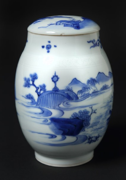 Blue-and-white jar and lid with immortal floating above a tree trunk