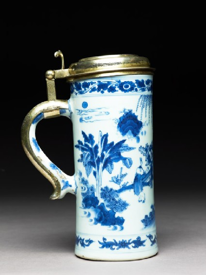 Blue-and-white tankard with European silver-gilt mounts