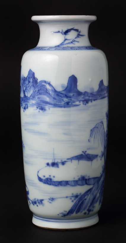 Blue-and-white vase with landscape