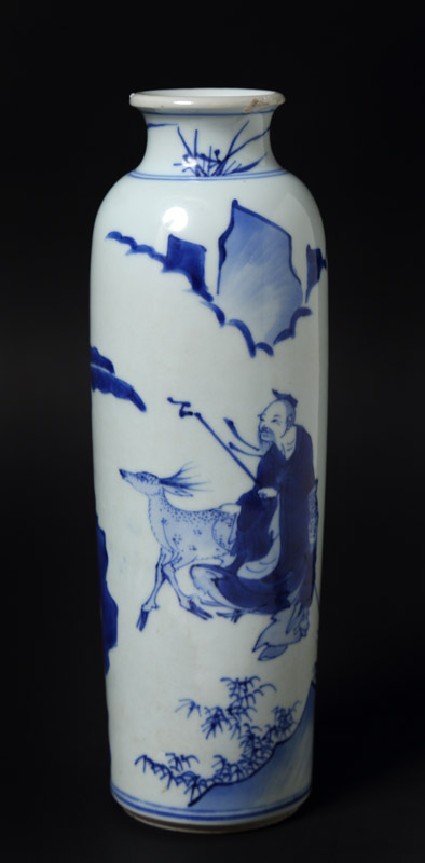 Blue-and-white vase with figures and deer in a landscape