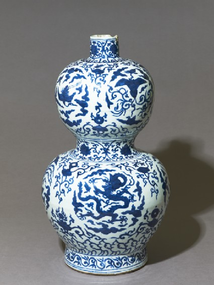 Blue-and-white vase in double-gourd form