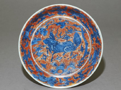 Dish with a kylin, or horned creature
