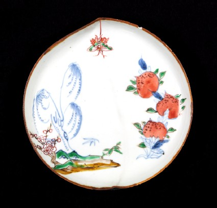 Dish in the form of a peach with willow, butterfly, and peaches