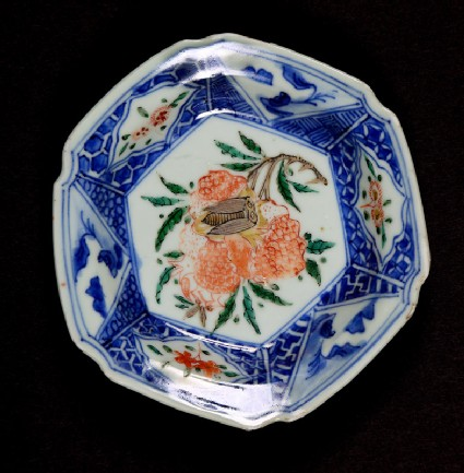 Hexagonal dish with hydrangea and cicada