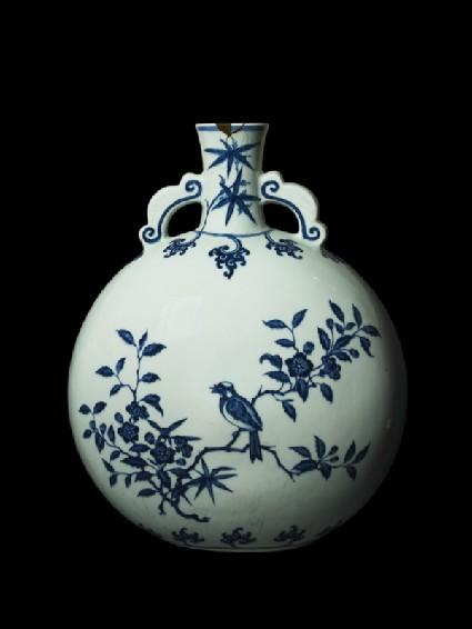 Large pilgrim bottle with birds in trees