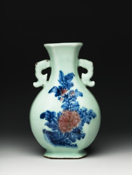 Bottle with a peony and a chrysanthemum