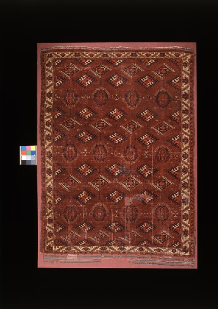 Carpet with geometric shapes and medallions