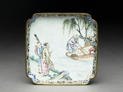 Copper tray with figures by a river