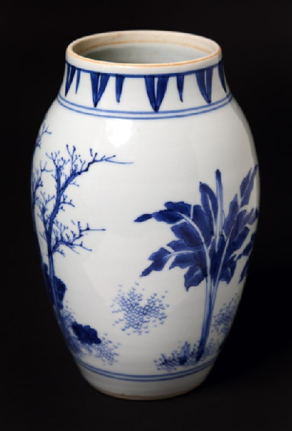 Blue-and-white jar with mythical figures in a landscape