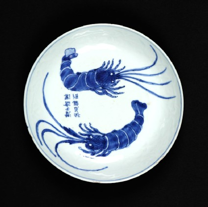 Blue-and-white dish with crayfish
