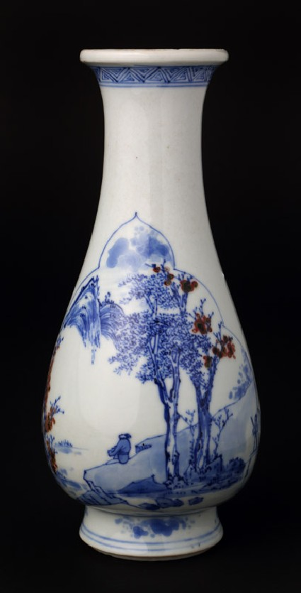 Blue-and-white vase with figure contemplating the landscape
