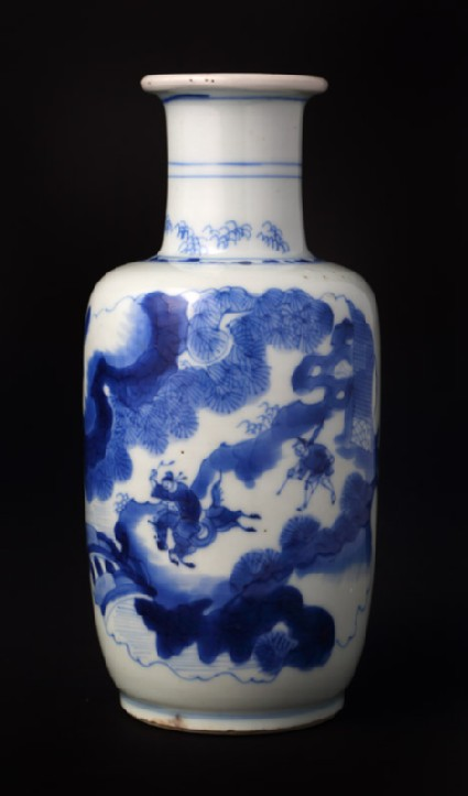 Blue-and-white baluster vase with figures in a landscape