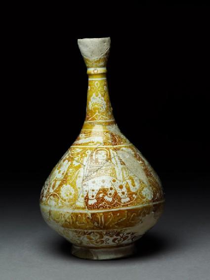 Bottle with elephants, hares, and naskhi inscription