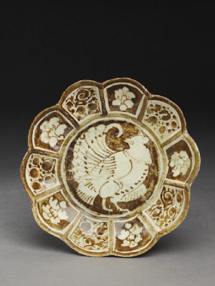 Saucer with lobed rim and bird