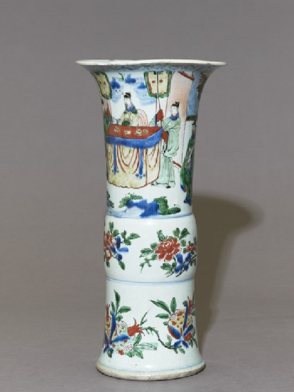 Beaker vase with a seated official receiving a messenger