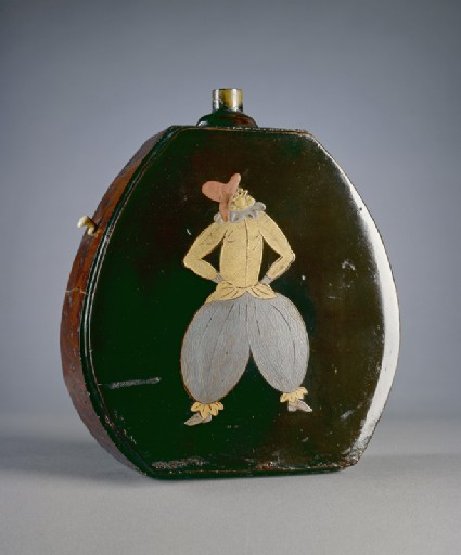 Gunpowder flask with figures in Portuguese dress