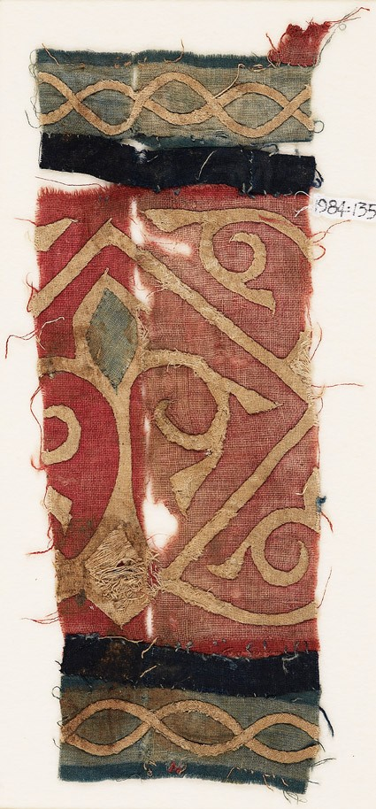 Textile fragment with palmette and tendrils