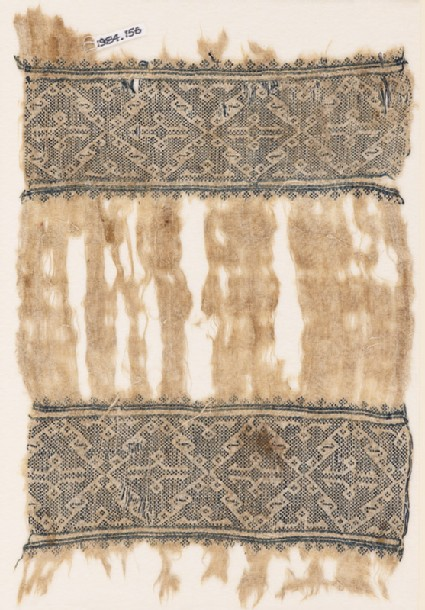 Textile fragment with bands of diamond-shaped squares