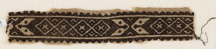 Textile fragment with band of linked-diamonds and cartouches