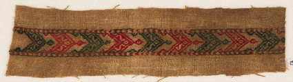 Textile fragment with band of chevrons, S-shapes, and leaves