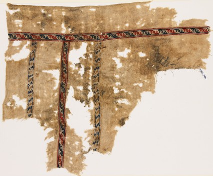 Textile fragment with bands of leaves and lozenges