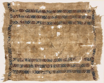 Textile fragment with six bands of diamond-shapes, crosses, and pseudo-inscription