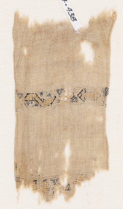 Textile fragment with two parallel bands