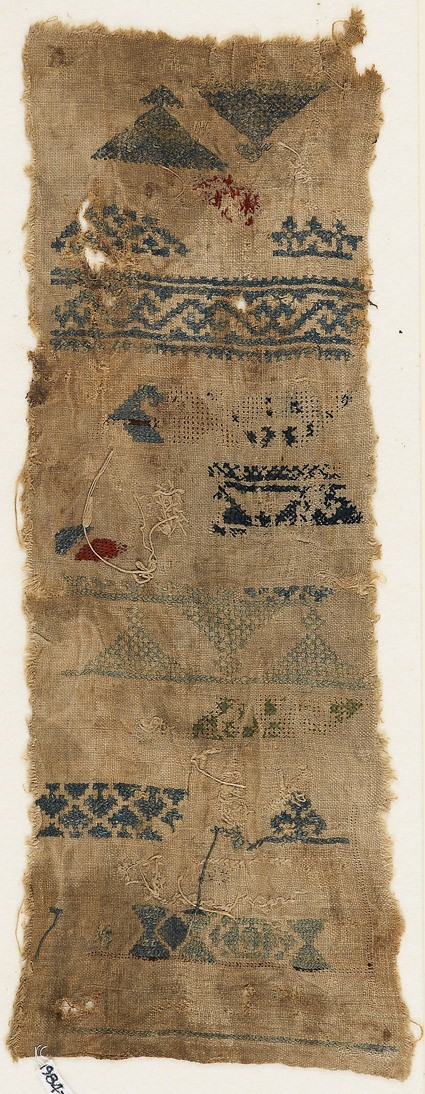 Sampler fragment with bands, triangles, and hexagons