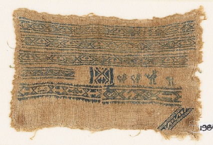Sampler fragment with bands of diamond-shapes and ovals