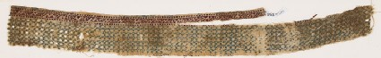 Textile fragment with linked diamond-shapes and possibly pseudo-inscription