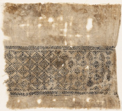 Textile fragment with grid of squares linked by diamond-shapes