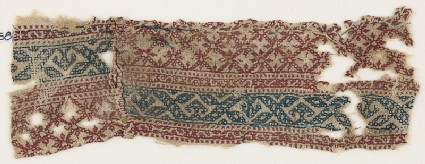 Textile fragment with grid and vines