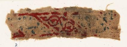 Textile fragment with lozenges, arabesque, and inscription