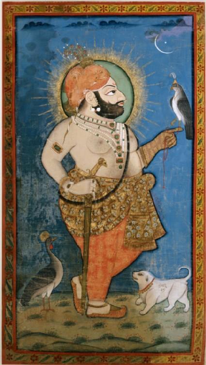 Maharana Bhim Singh with a hawk