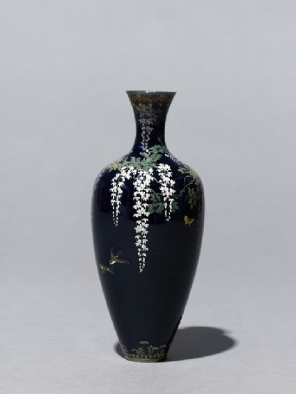 Baluster vase with wisteria and birds