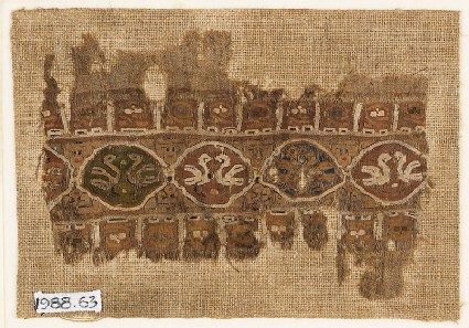 Textile fragment with linked medallions and birds