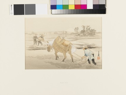 Farmer ploughing with a horse