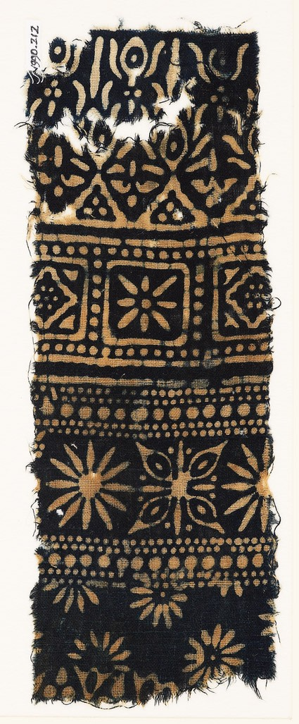 Textile fragment with rosettes, quatrefoil, diamond-shapes, and stylized trees