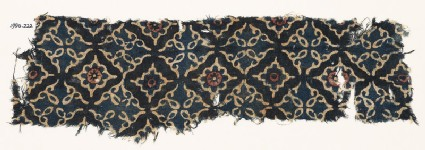 Textile fragment with lobed diamond-shapes and leaves