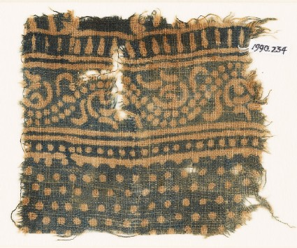 Textile fragment with dotted vine