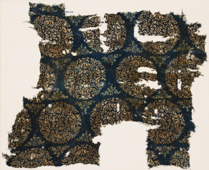 Textile fragment with peacocks and trees in roundels