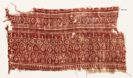 Textile fragment with arches, circles, and rosettes