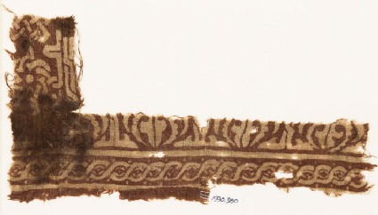 Textile fragment with interlace based on script, and cable pattern
