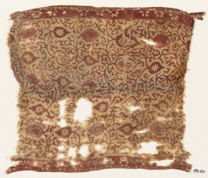 Textile fragment with tendrils and tear-drops