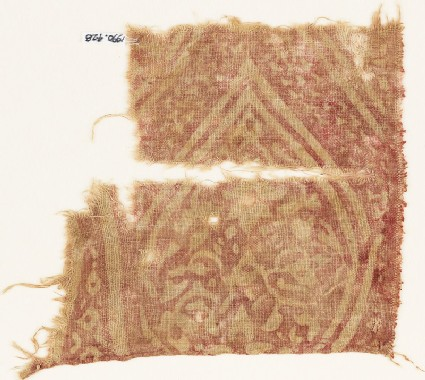 Textile fragment with an oval medallion, tendrils, and leaves