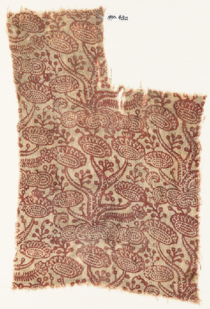 Textile fragment with stylized plants with oval flower-heads