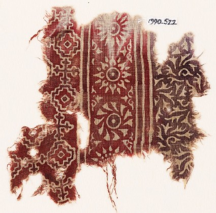 Textile fragment with rosettes, stepped squares, and Maltese crosses